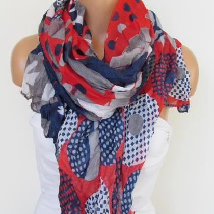 Red Navy Blue and GrayFloral Polka-..
