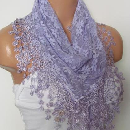 Lilac Long Scarf With Fringe-Winter..