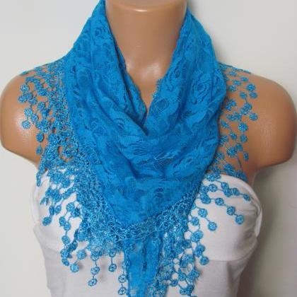 Blue Long Scarf With Fringe-Winter ..