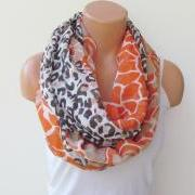 Leopard Pattern Infinity Scarf Circle Scarf Loop Scarf Tube Scarf Orange Brown Stone