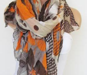Orange Brown and Cream Floral Polka-dot Pattern Scarf Spring Summer Scarf Infinity Scarf Women's Fashion Accessories Trend Holidays Easter Gift Ideas For Her