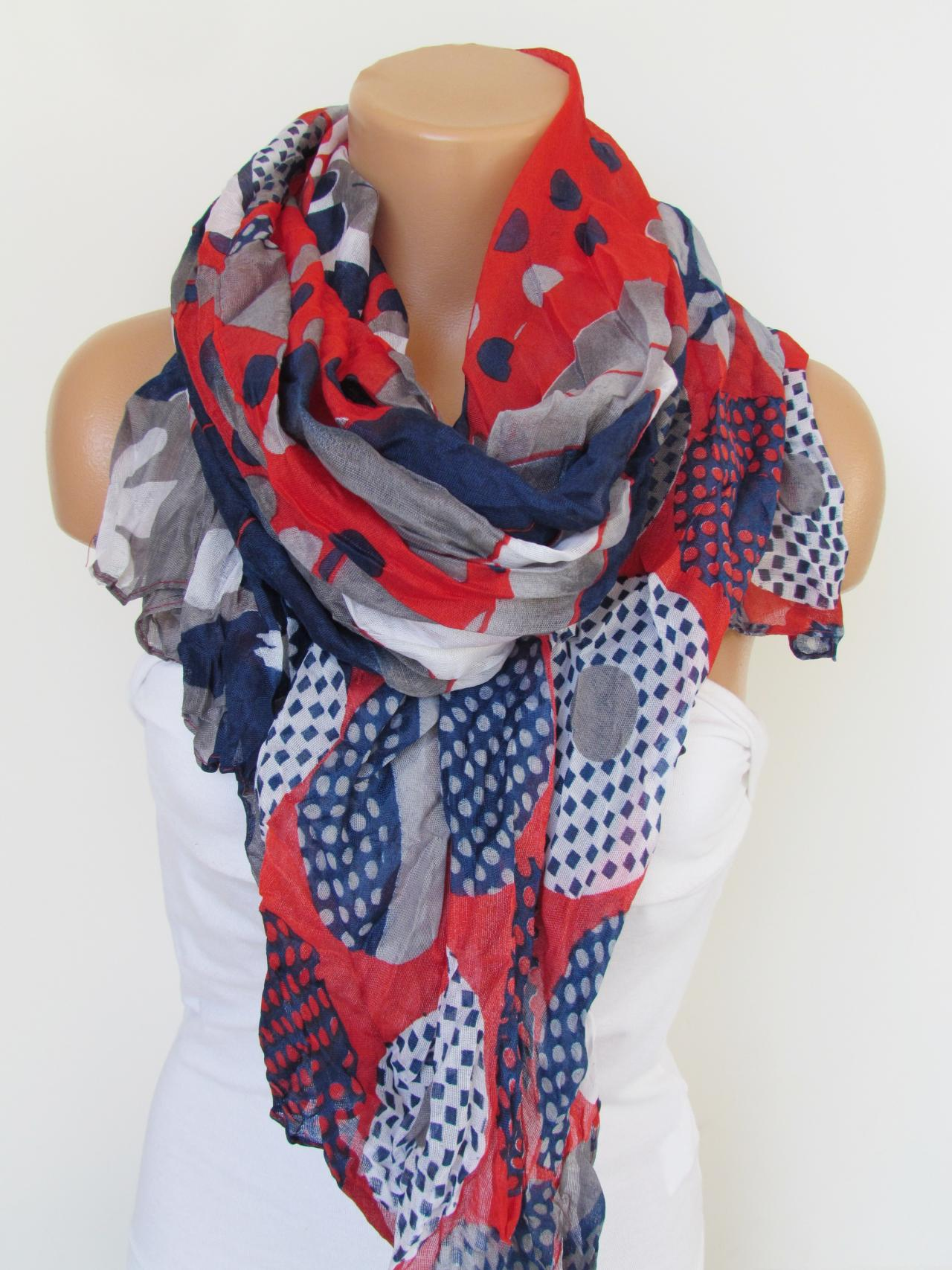 Red Navy Blue and GrayFloral Polka-dot Pattern Scarf Spring Summer Scarf Infinity Scarf Women's Fashion Accessories Trend Holidays Easter Gift Ideas For Her