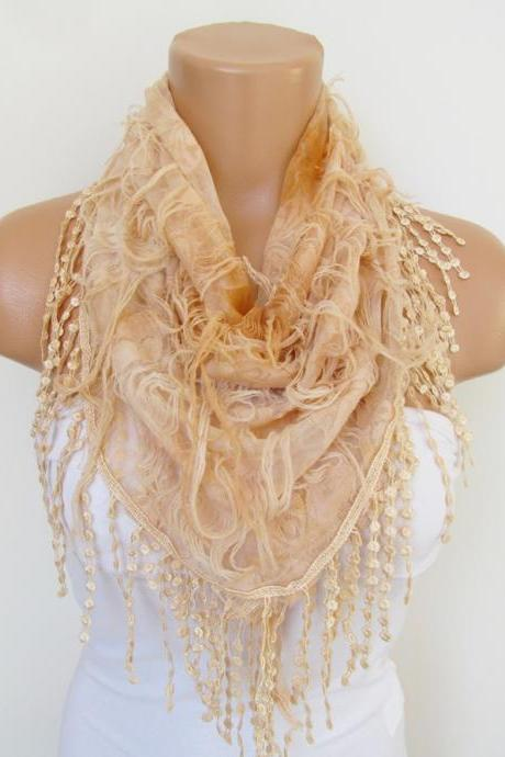 Salmon Scarf with fringe -Triangle Shawl Scarf-Spring Fashion-Lace Scarf- Neckwarmer- Infinity Scarf-Mother's Day Gift