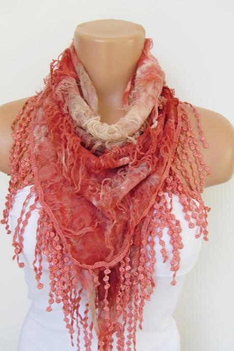 Red Scarf with fringe -Triangle Shawl Scarf-Spring Fashion-Lace Scarf- Neckwarmer- Infinity Scarf-Mother's Day Gift