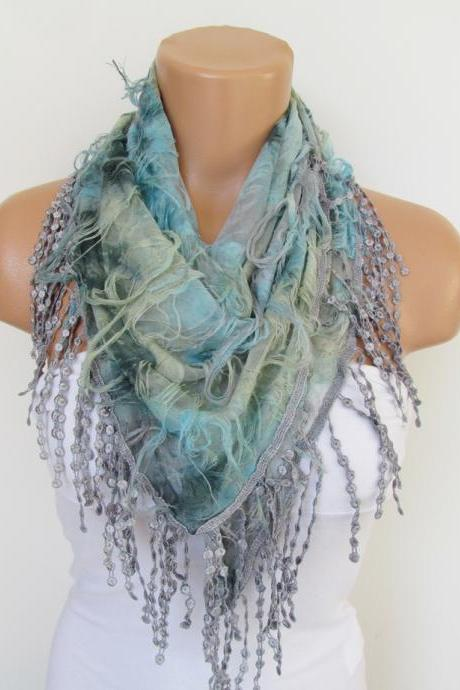 Gray and Aqua Scarf with fringe -Triangle Shawl Scarf-Spring Fashion-Lace Scarf- Neckwarmer- Infinity Scarf-Mother's Day Gift
