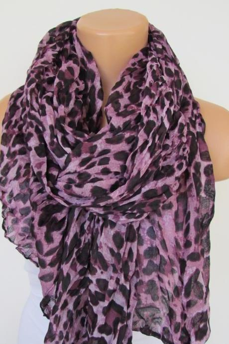 Oversize Purple Leopard Pattern Spring Summer Scarf Infinity Scarf Women's Fashion Accessories Trend Holidays Easter Gift Ideas For Her