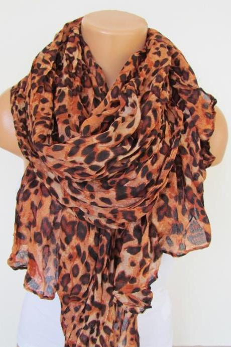 Oversize Brown Leopard Pattern Spring Summer Scarf Infinity Scarf Women's Fashion Accessories Trend Holidays Easter Gift Ideas For Her
