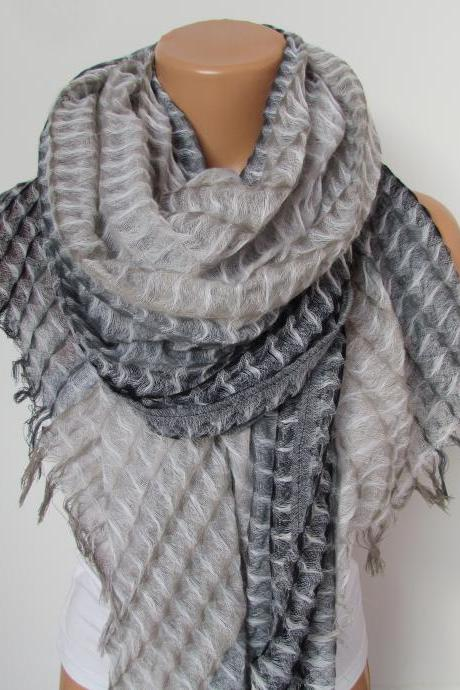 Gray and Beige Long Scarf -Shawl Scarf-New Season-Necklace-Cowl- Neckwarmer- Infinity Scarf-Mother's Day Gift