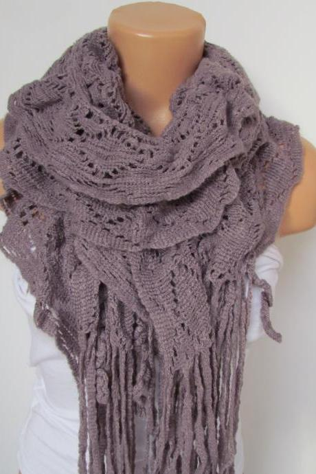 Lilac Knitted Fabric Scarf - Shawl Scarf - Winter Fashion Scarf - Ruffle Scarf - Infinty Scarf - Neck Warmer
