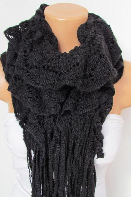 Black Knitted Fabric Scarf - Shawl Scarf - Winter Fashion Scarf - Ruffle Scarf - Infinty Scarf - Neck Warmer