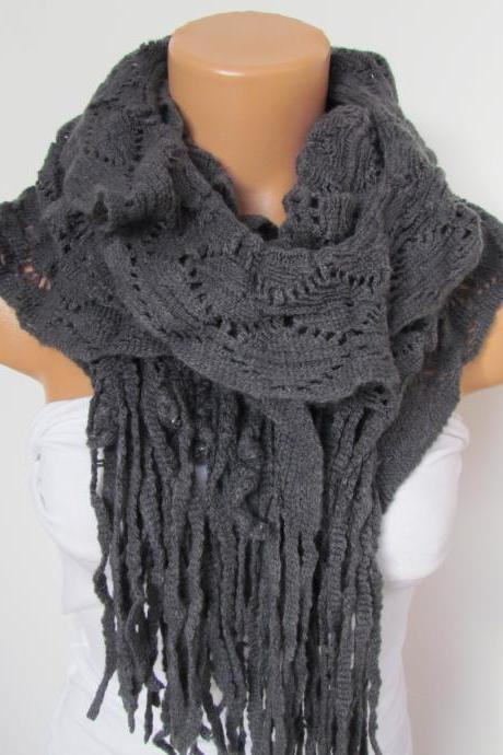 Gray Knitted Fabric Scarf - Shawl Scarf - Winter Fashion Scarf - Ruffle Scarf - Infinty Scarf - Neck Warmer