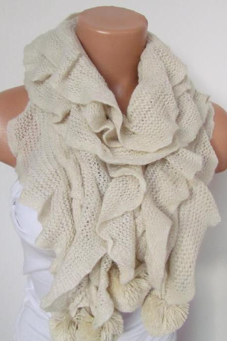 Stone Knitted Fabric Scarf - Shawl Scarf - Winter Fashion Scarf - Ruffle Scarf - Infinty Scarf - Neck Warmer