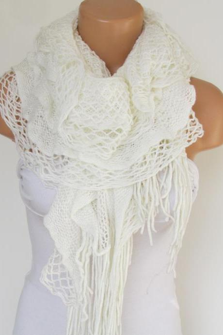 White Knitted Fabric Scarf - Shawl Scarf - Neck Warmer, Winter Accessories, Fall Fashion, Holiday Accossories,Gift For Valentines