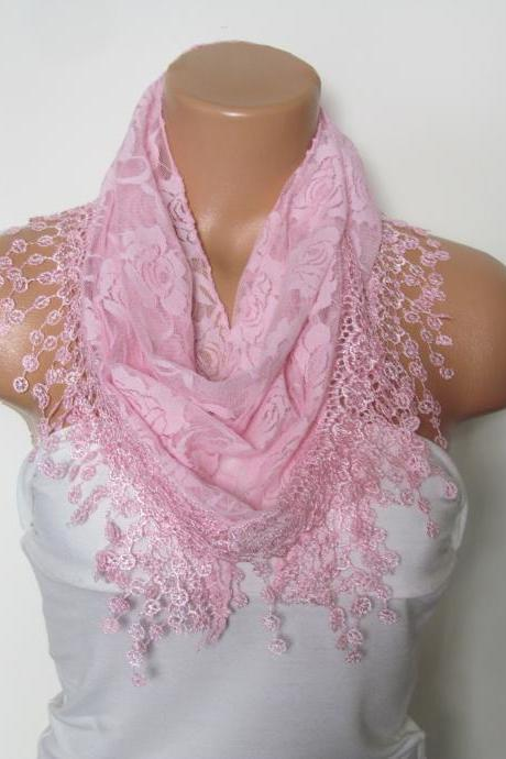 Pink Long Scarf With Fringe-Winter Fashion Scarf-Headband-Necklace- Infinity Scarf- Winter Accessory-Long Scarf