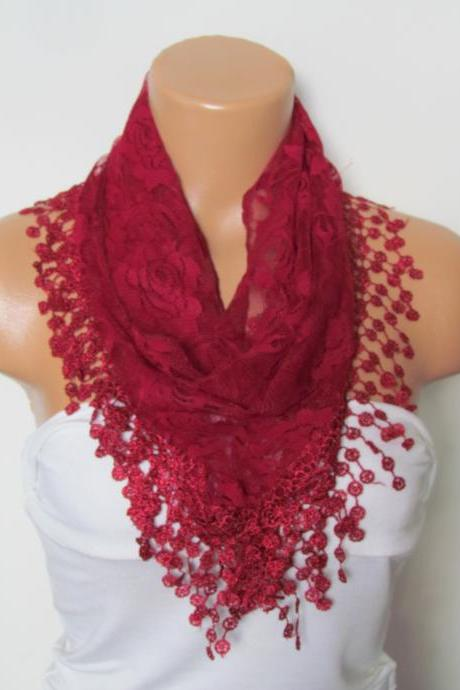 Claret Red Long Scarf With Fringe-Winter Fashion Scarf-Headband-Necklace- Infinity Scarf- Winter Accessory-Long Scarf