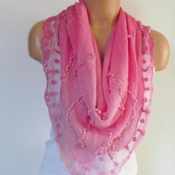 Pink Triangle Scarf With Lace-Shawl Scarf-Cotton Scarf-New Season -Fall Fashion-Pashmina Scarf- Neckwarmer- Infinity Scarf