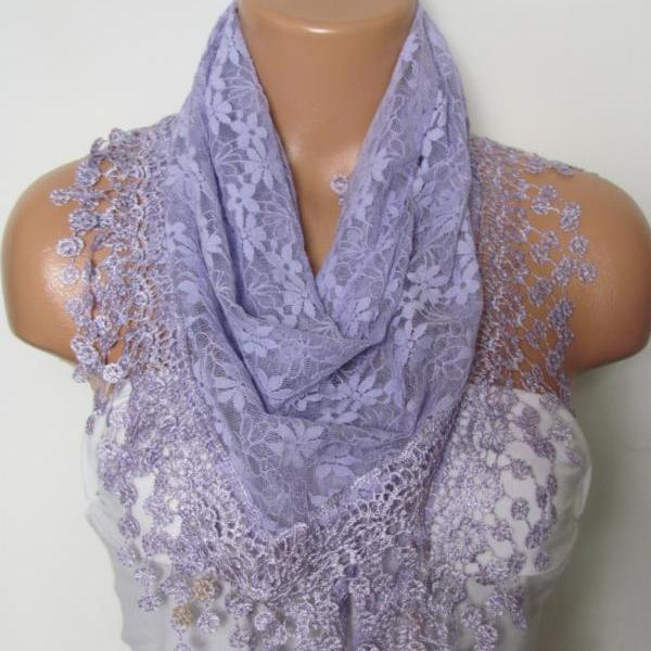 Lilac Long Scarf With Fringe-Winter Fashion Scarf-Headband-Necklace- Infinity Scarf- Winter Accessory-Long Scarf