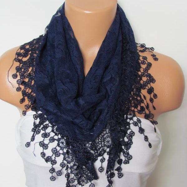 Dark Blue Long Scarf With Fringe-Winter Fashion Scarf-Headband-Necklace- Infinity Scarf- Winter Accessory-Long Scarf
