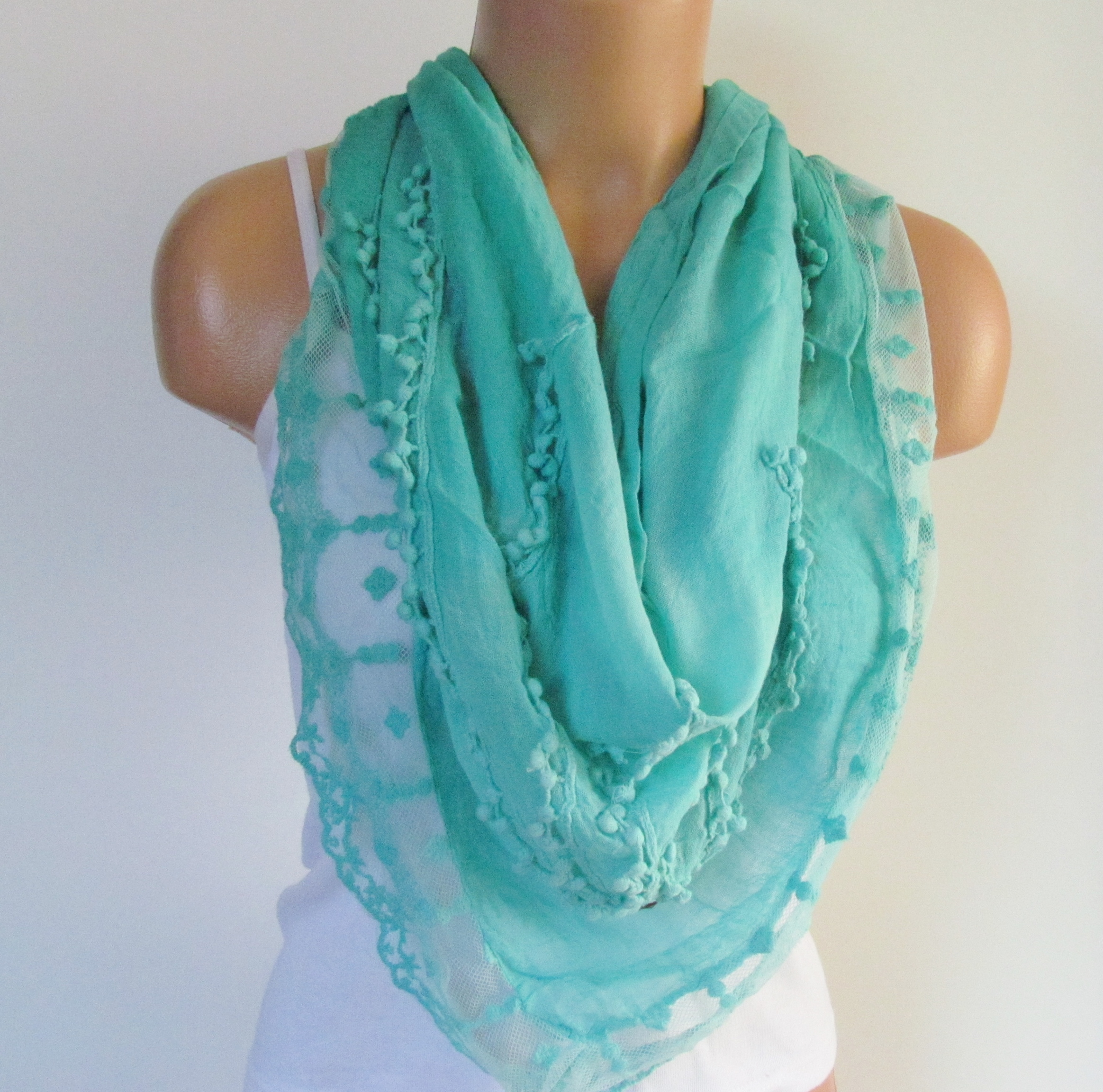 mint triangle scarf with lace shawl scarf cotton scarf new
